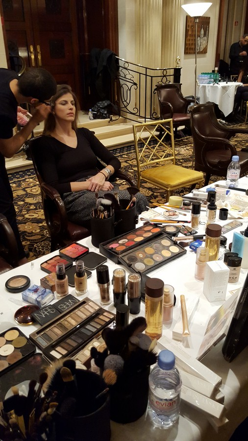 Visoanska Products on backstage with a model