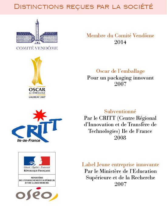 Prix reçus par la société